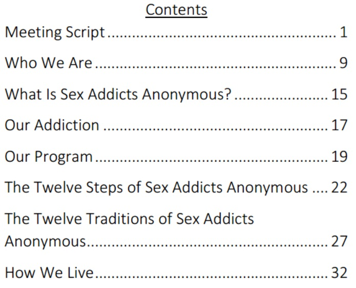 Sex addicts anonymous online
